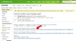 James Snider's hotmail account with notice  from Google Alert